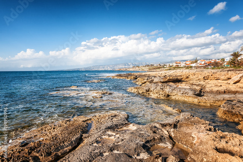 Aluminium Cyprus a fantastic stunning colorful landscape, a blue sea shore, the coast of Cyprus, the neighborhood of Paphos