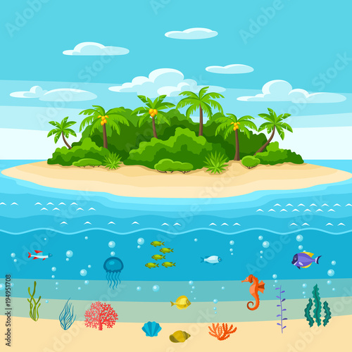 Fotobehang Turkoois Illustration of tropical island in ocean. Landscape with ocean, palm trees and underwater life. Travel background