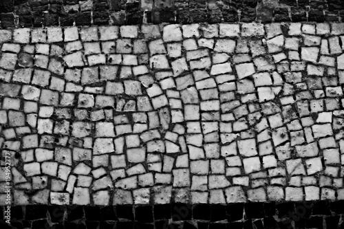 Foto op Canvas Stenen texture of stone pavement tiles cobblestones bricks background