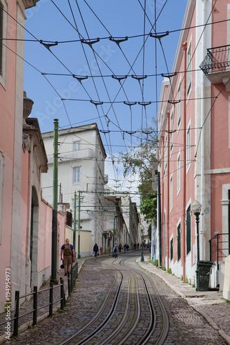 Fotobehang Smalle straatjes Bairro Alto Lisbon Portugal