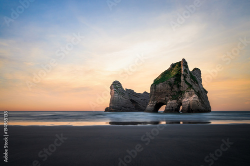Fotobehang Strand Beautiful place in Wharariki Beach, New Zealand