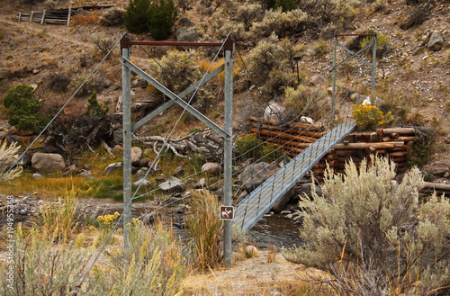 Suspension bridge on Lava Creek Trail at Mammoth Hot Springs in Yellowstone National Park in Wyoming in the USA
