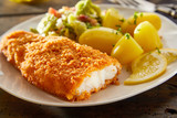 Crispy fresh breaded fish with potatoes