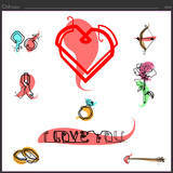 Set of romantic love icons for the heart is drawn by a straight continuous line