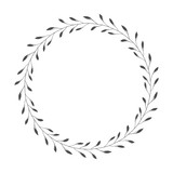 vector hand drawn floral wreath, round frame with leaves, decorative design element, illustration - 194966918