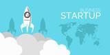 Start Up Rocket Concept  Blue Design Eps 10  Wall Sticker