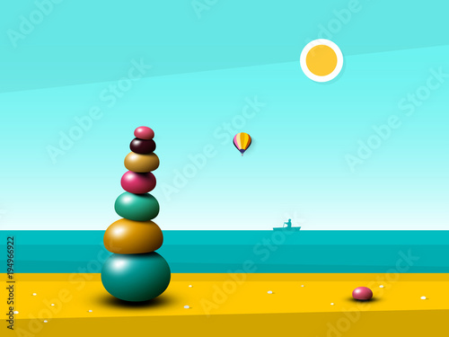 Fotobehang Turkoois Quiet Peaceful Ocean Landscape with Zen Pebbles Heap on Beach. Vector Flat Design Illustration with Sea.