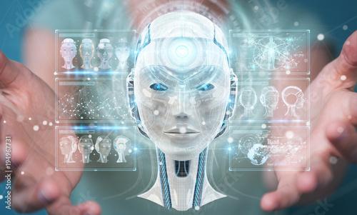 Foto op Aluminium Hoogte schaal Businesswoman using digital artificial intelligence interface 3D rendering