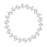 vector hand drawn floral wreath, round frame with leaves, decorative design element, illustration - 194967969