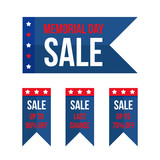Set, collection of Memorial Day sale design elements, banners, stickers isolated on white background. - 194969576
