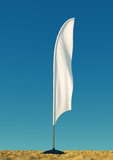 3d rendered mockup blank template of white empty beach flags against a clear sky background. flags for events, parties.