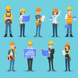Set of icons for various male and female builders and designers with blueprints.  - 194970935
