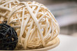 Woven wicker or bamboo balls used for decorating