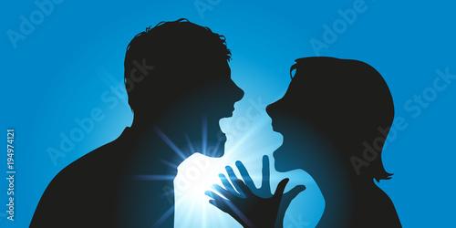 Aluminium Hoogte schaal dispute - couple - conflit - divorce - violence - colère - séparation - violent - confrontation - fâcher - crier