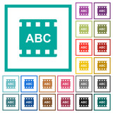 Movie subtitle flat color icons with quadrant frames