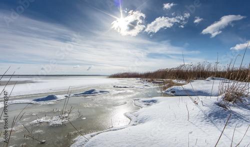 Leinwanddruck Bild eislandschaft am meer