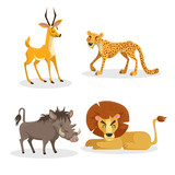 Cartoon trendy style african animals set. Cheetah, antelope, lion, pig warthog. Closed eyes and cheerful mascots. Vector wildlife illustrations. - 194976988