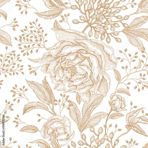 Floral vintage seamless pattern. - 194978366