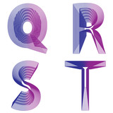 Abstract alphabet QRST letter neon lines vector
