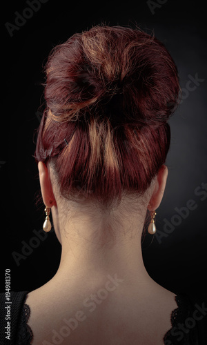 Foto op Canvas Kapsalon Beautiful woman with perfect hair and pearl earrings .
