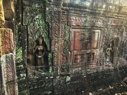 Cambodia Architecture. Bas-relief. Wall Carving in Angkor Wat Complex . Famous Landmark.