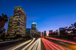 Downtown Los Angeles, skyline with trail lights, California, USA - 194982331