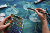 brush, palette, artist's hand, ballet Painting Acrylic and Full spectrum on Cardboard - 194982325