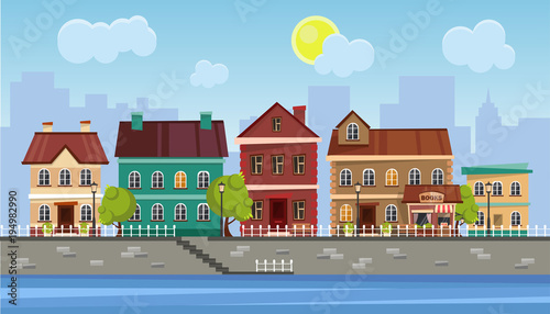 Poster The landscape of the historic city. Vector illustration.