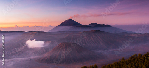 Aluminium Aubergine Mount Bromo scenery changes its colours second by second from dust from night to early morning.