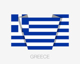 Flag of Greece. Flat Icon Waving Flag with Country Name - 194986781