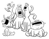 Barking Or Howling Dogs Characters Coloring Book Wall Sticker