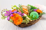 Herbal soaps and fresh spring flowers - 194988151