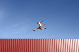 Jump Parkour Young Man Container Red Sky Blue