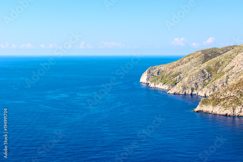 Blue sea and cliff in Porto Schiza on Zakynthos island. Greece.