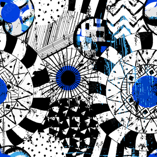 Fotobehang Abstract met Penseelstreken seamless geometric pattern background, with circles, strokes and splashes, black and white
