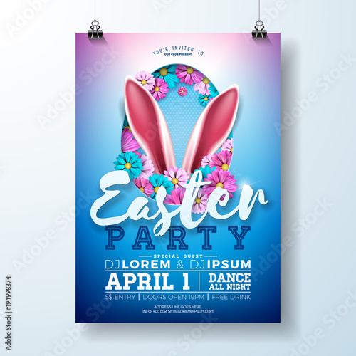 Vector Easter Party Flyer Illustration with rabbit ears, flowers and typography elements on blue background. Spring holiday celebration poster design template.