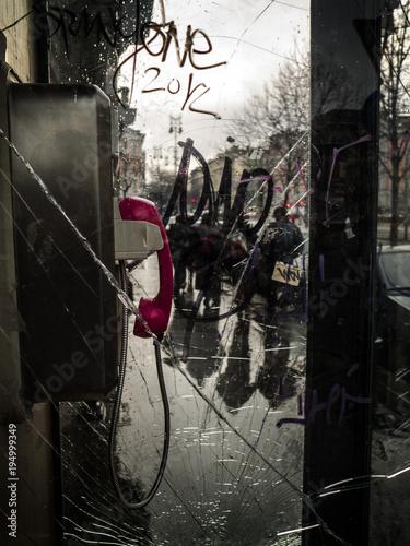 Foto op Canvas Boedapest Phone box 1