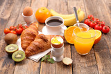 healthy breakfast with coffee, croissant and boiled egg - 195002118