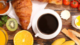 breakfast with coffee, croissant and boiled egg - 195002135