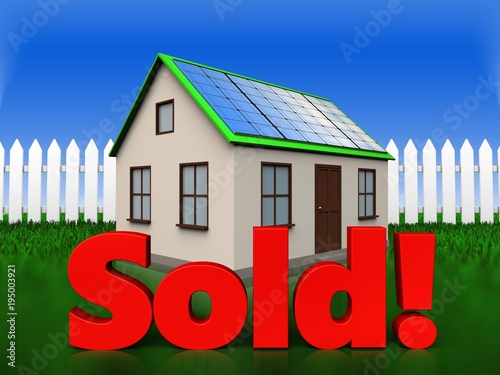 3d sold sign over grass and fence