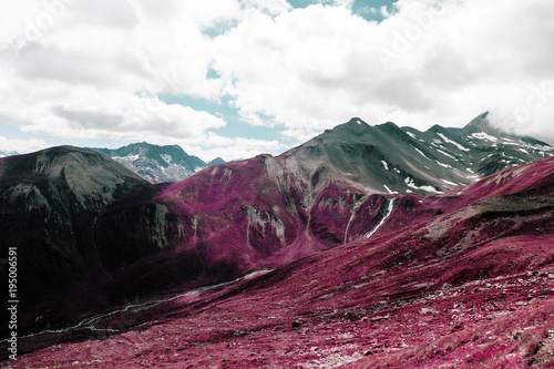 Plexiglas Crimson Beautiful mountains and landscape in the alps switzerland in color infrared