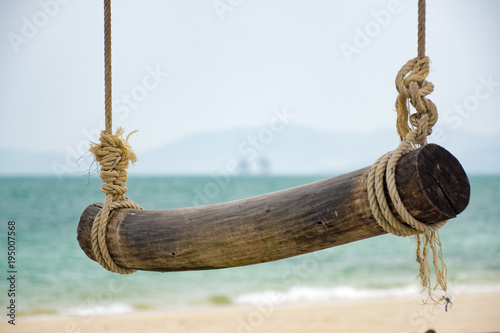 Swing on a tree on the beach