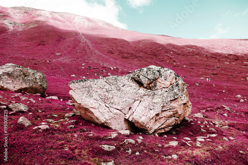 Foto op Canvas Crimson A big rock on the swiss alps in color infrared