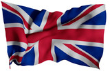 UK flag with fabric texture. 3D remder. - 195011159