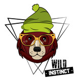 Hipster Wild Bear Print For T Shirt  Illustration Clothing Design Wall Sticker