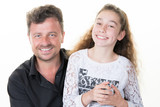 happy divorce family single father love daughter girl happy teenager and dad - 195018115