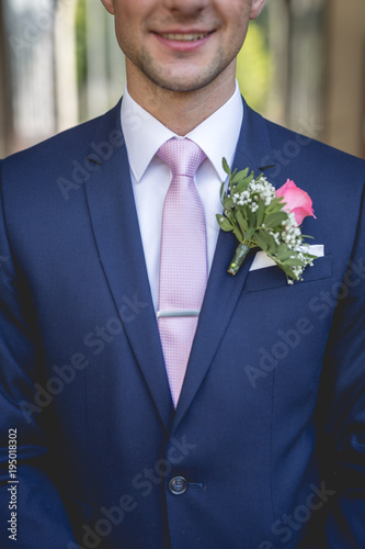 groom flower close up