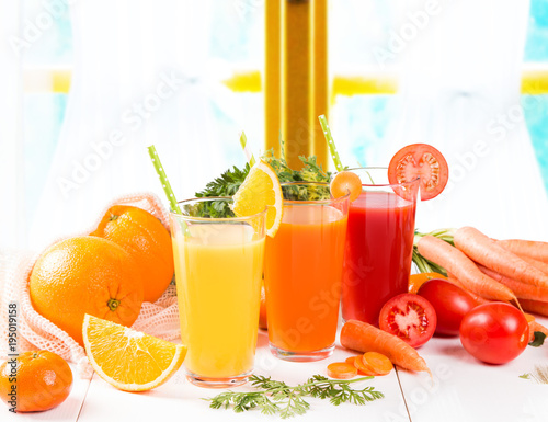 Foto op Canvas Sap Mix juices, carrot, orange, apple and tomato drinks.