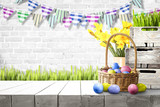 Table background and easter time. Free space for your decoration.