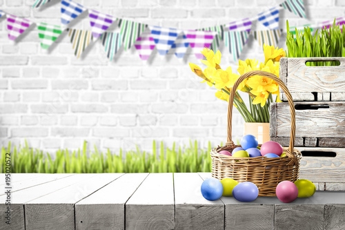 Table background and easter time. Free space for your decoration.  - 195020572